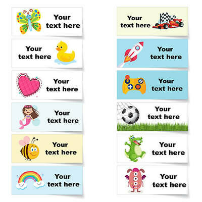 42x Personalised Waterproof School Sticky Children Kids Name Labels Stickers E10 • 3.49£