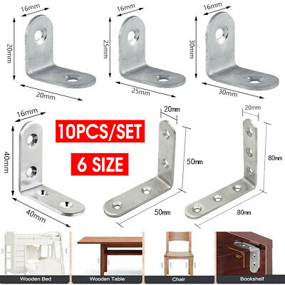 AU3.75 • Buy 10PCS Stainless Steel Corner Brackets Angle Bracket Corner Brace Joint L Shape