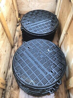 Heavy Duty Round Iron Manhole Cover & Frame, Drive, Pavement , 450mm BRAND NEW • 44.99£