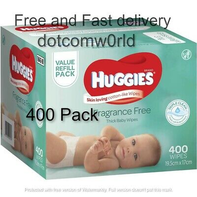AU20 • Buy HUGGIES Baby Wipes Fragrance Free Baby Wipes, 400 Wipes Refill Pack Fast Deliver
