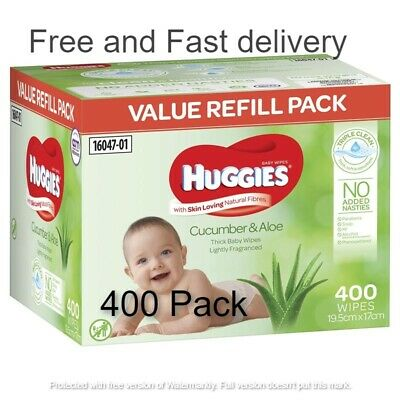 AU20 • Buy HUGGIES Baby Wipes Cucumber And Aloe Vera Baby Wipes, 400 Wipes Refill Pack