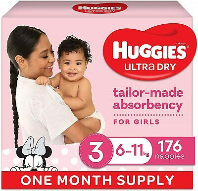 AU129 • Buy Huggies Ultra Dry Nappies, Girls, Size 3 Crawler (6-11kg), 176 Count, Fast Deliv