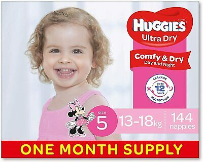 AU129 • Buy Huggies Ultra Dry Nappies, Girls, Size 5 Walker (13-18kg), 144 Count, One-Month