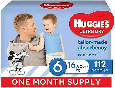 AU83 • Buy HUGGIES Ultra-Dry Nappies, Boys, Size 6 (16kg+), One-Month Supply, Size 6, 112
