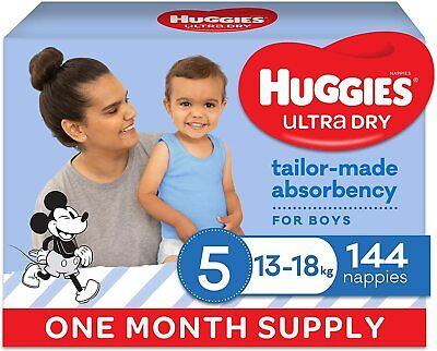 AU85 • Buy Huggies Ultra Dry Nappies, Boys, Size 5 Walker (13-18kg), 144 Count, One-Month