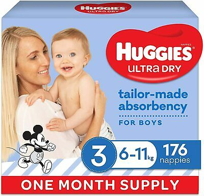 AU74 • Buy HUGGIES Ultra-Dry Nappies Boys Size 3 6-11kg One-Month Supply 176 Count Crawler