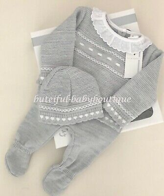 Newborn Baby Boys Girls Spanish Style Grey Knitted Jumper Trousers & Hat Suit  • 15.99£