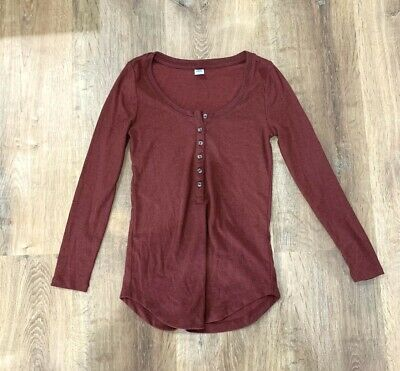 $9.99 • Buy Old Navy 3/4 Sleeve Henley Shirt Top Women Ribbed XS Burgandy Dark Red