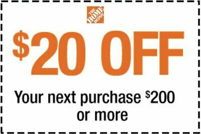 $2.09 • Buy Home Depot $20 OFF $200 Coupon ONLINE USE ONLY--Very-FAST_SENT--