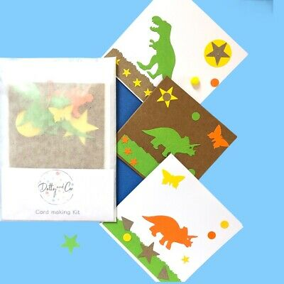 Children's Card Making Kit*Craft Box*Activity Box*Dinosaur Cards Gifts*Party Bag • 2.99£