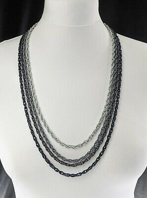 £67 • Buy Beautiful Vintage Grey French Rope Four Chain Necklace By Trifari Jewellery