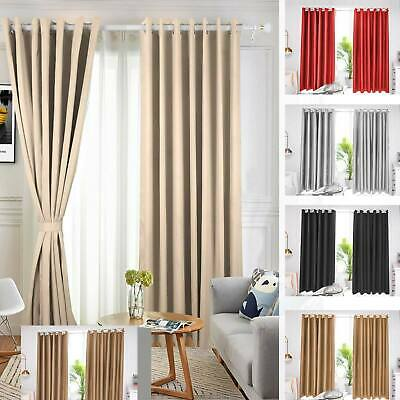 READY MADE Thermal Blackout EYELET RING TOP Curtain Pair, FREE Matching Tie Back • 26.75£