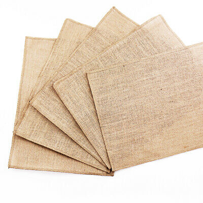 Burlap Table Mats Lace Placemats Sets Nature Woven Tableware Mats Coffee Pads • 1.28£