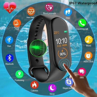 $ CDN8.55 • Buy M4 Smart Band Watch Bracelet Blood Pressure Heart Rate Wristband Fitness Tracker