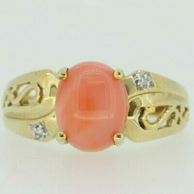 9ct Yellow Gold Coral & Diamond Ring Size P 1/2 • 205£