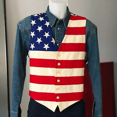 £361.55 • Buy MOSCHINO Cheap And Chic Wool Vest American Flag Print Size IT 54
