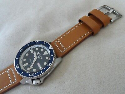 Brown Leather Watch Strap To Fit Seiko 5 SKX SRPD SNZG SNZF Quick Release 22 Mm • 13.95£