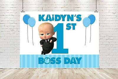 AU20 • Buy Personalised Boss Baby Banner / Backdrop Birthday Poster 1st 2nd *DIGITAL FILE*