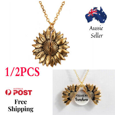 AU5.95 • Buy 18KGold Plated You Are My Sunshine Letter Sunflower Open Locket Pendant Necklace