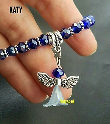 Guardian Angel Wings Protection Blue Bead Silver Stretch BRACELET Charm Gift  UK • 4.80£