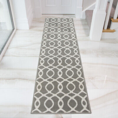 Silver Grey Nautical Rug Small Large Living Room Rugs Geometric Hallway Runners • 49.95£
