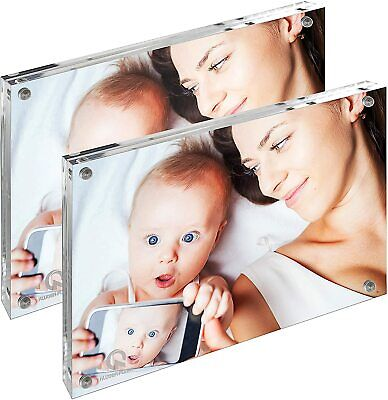 £19.95 • Buy Magnetic Photo Frame Frameless Acrylic Double Sided Picture Stand 2 Pack 7  X 5