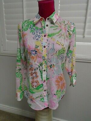$12.99 • Buy LILLY PULITZER Womens Tropical Floral Button Down Lightweight Blouse Shirt Sz S