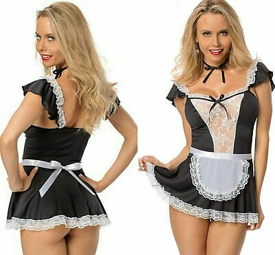 £12.95 • Buy Sexy French Maid Fancy Dress Ladies Costume Outfit Hen Party Naughty Girl 8 - 16