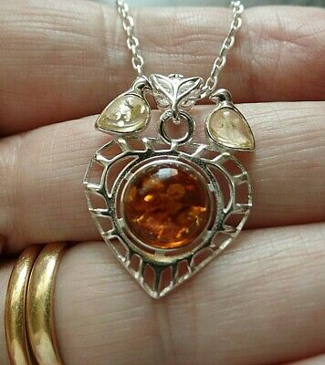Sterling Silver And Polish Amber Heart And Love Birds Necklace Taurus Birthstone • 20£