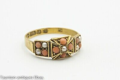 15ct Gold Victorian Coral Seed Pearl Ring Chester 1882 Charles Horner? : Size: Q • 345£