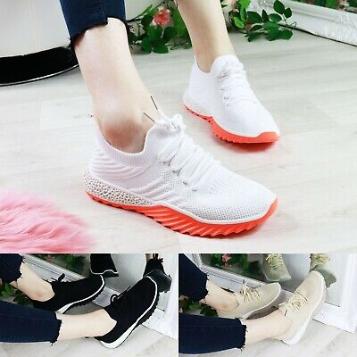 Womens Ladies Slip On Knit Trainers Party Casual Sport Sneakers Women Shoes • 13.99£