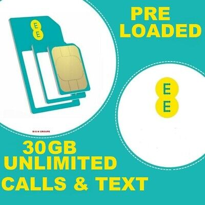 £16.99 • Buy EE SIM Card  Pay As You Go PAYG FOR IPHONE & SAMSUNG LOADED 30GB UNLIMITED CALLS