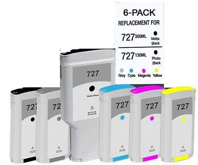 $199.95 • Buy HP 727 Black Matte Black + BCMYG 6PK For Printers DesignJet 1500 T2500 T920 T930