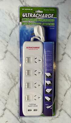 AU20 • Buy 4-Way Power Board Extension Cord 2x 2.4A USB Charger Outlet Surge Protected Lead