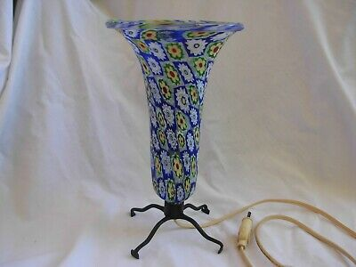 $345 • Buy ANTIQUE ITALIAN MURANO MILLEFIORI GLASS LAMP WITH WROUGHT IRON FOOT,EARLY 20th
