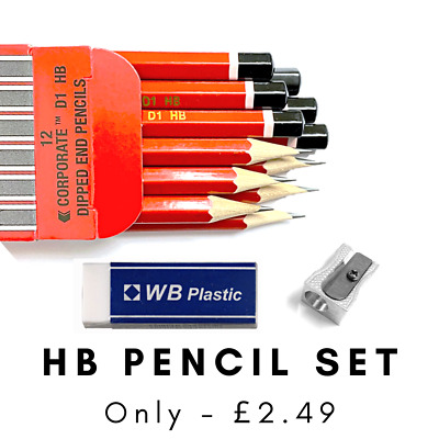 12 X HB Pencils Dipped End Boxed Best Quality + FREE Metal Sharpener & Eraser  • 2.50£