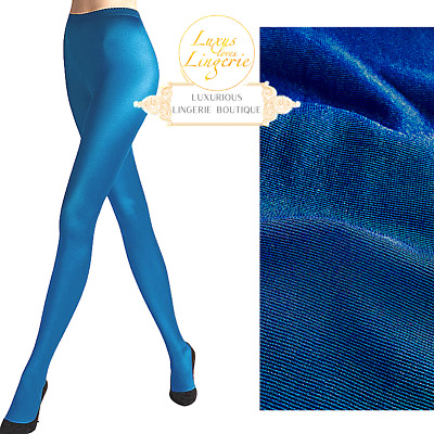 Neon 40 Tights By Wolford ✨ S Small Electric Blue Boxed ✨ Half Transparent Shiny • 51.36£