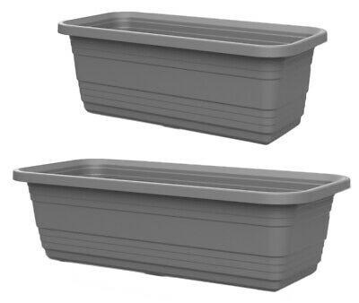Grey Trough Plant Pot Long Plastic Planter Home Garden Window Herb Flower Box • 6.99£