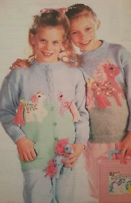 KNITTING Pattern MY LITTLE PONY SWEATER&CARDIGAN GIRLS DOUBLE KNITTING 24-30 INS • 2.30£