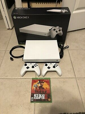 $379 • Buy Xbox One X 1tb Robot White Special Edition Bundle W/ 2 Controllers + Red Dead 2