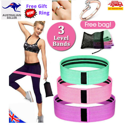 AU24.95 • Buy 3X Bands Resistance Hip Booty Loop Circle Workout Exercise Legs Fabric Set Yoga