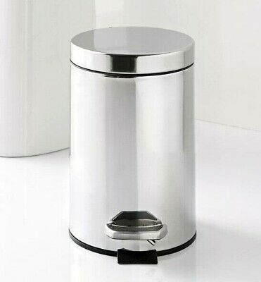 3 Litre Bin Chrome Pedal Bathroom Bin Home Office Modern Lid Stain Steel  • 12.99£