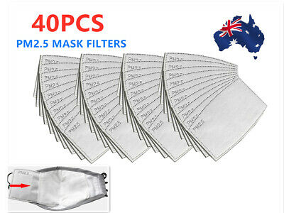 AU22.94 • Buy 40 PCS PM2.5 P2 Face Mask Filter Activated Carbon Breathing (Only Filters) AU