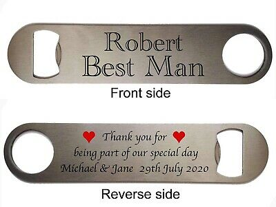 Personalised Stainless Steel Bottle Opener Wedding Thank You Gift Wedding Favour • 3.85£