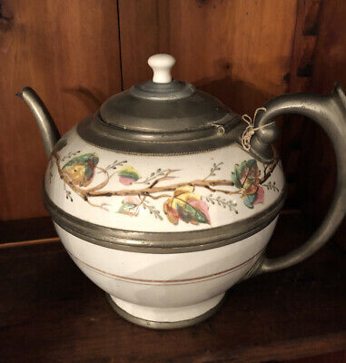 $75 • Buy Antique French Enamelware Enamel Coffee Tea Pot Leaves Porcelain