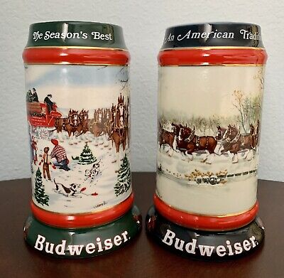 $ CDN39.53 • Buy Lot Of 2 Budweiser Beer Steins 1990, 1991 Collectors' Series Christmas Themed