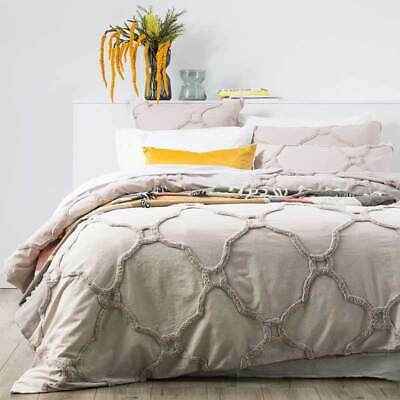 $ CDN94.17 • Buy RENEE TAYLOR Moroccan 100% Cotton Chenille Tufted Quilt Cover Set DOVE