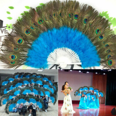 Large Folding Feather Hand Fan Peacock Eye Showgirl Dance Costume Party Show • 5.29£