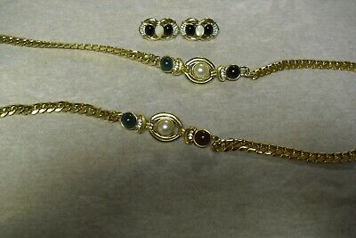 $ CDN5.43 • Buy Lot Of 6 Pieces Costume Jewelry - Clip On Earrings, Necklace, Beetle Broach Pin