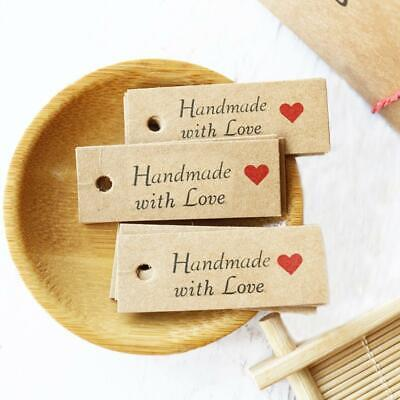 100x Kraft Paper HANDMADE WITH LOVE Gift Tags Rustic Wedding Favor Tag Label • 2.49£